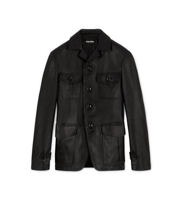 LEATHER MILITARY BLACK JACKET A fullsize