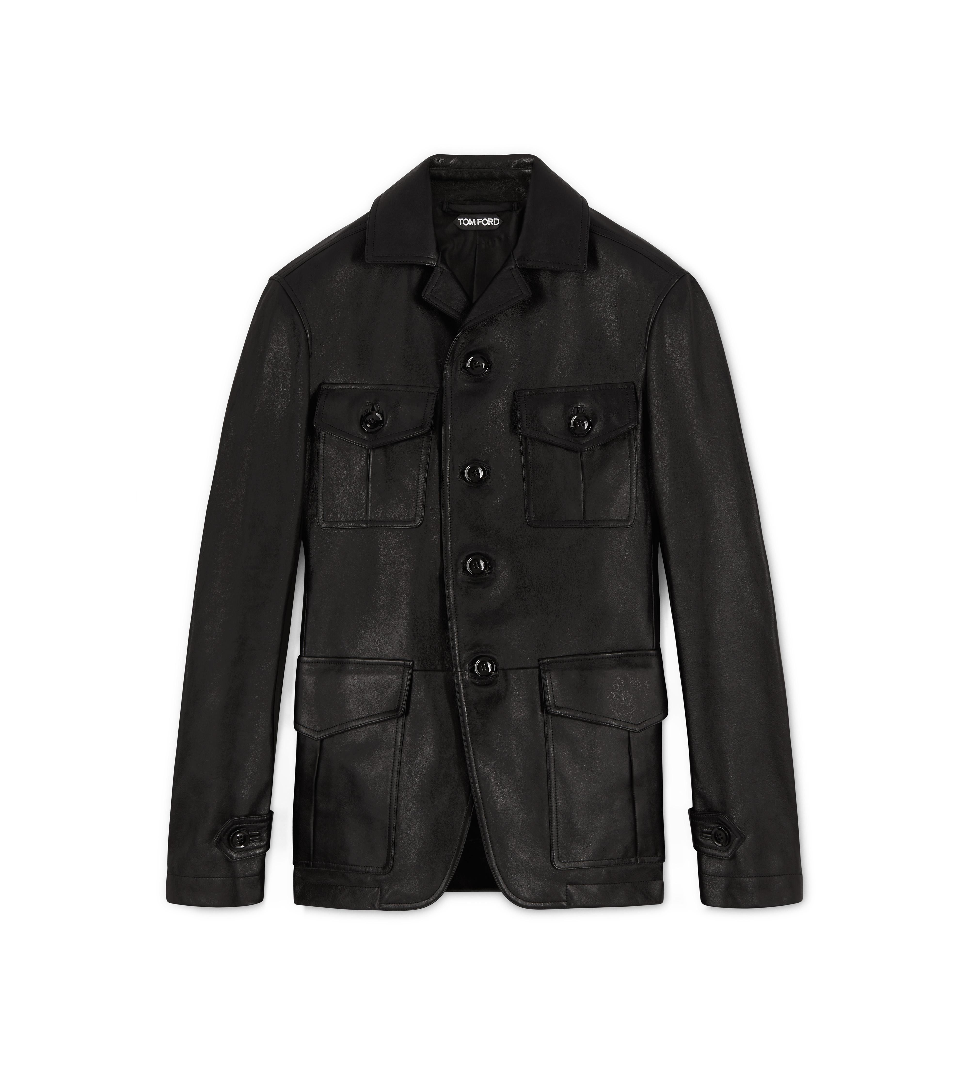 LEATHER MILITARY BLACK JACKET A thumbnail