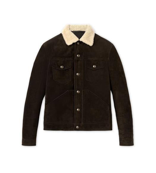 CASHMERE SUEDE AND SHEARLING DOWN FILLED WESTERN JACKET
