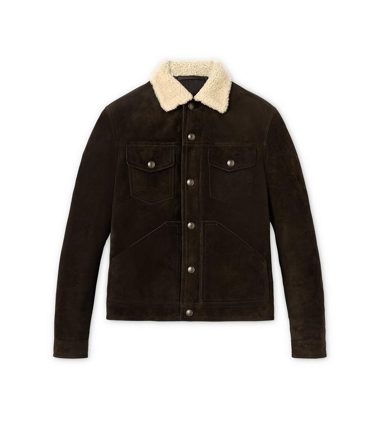 CASHMERE SUEDE AND SHEARLING DOWN FILLED WESTERN JACKET A fullsize