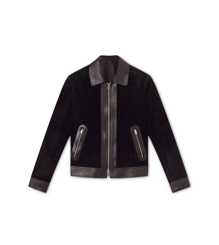 CASHMERE SUEDE AND LEATHER CONTRAST BLOUSON A fullsize