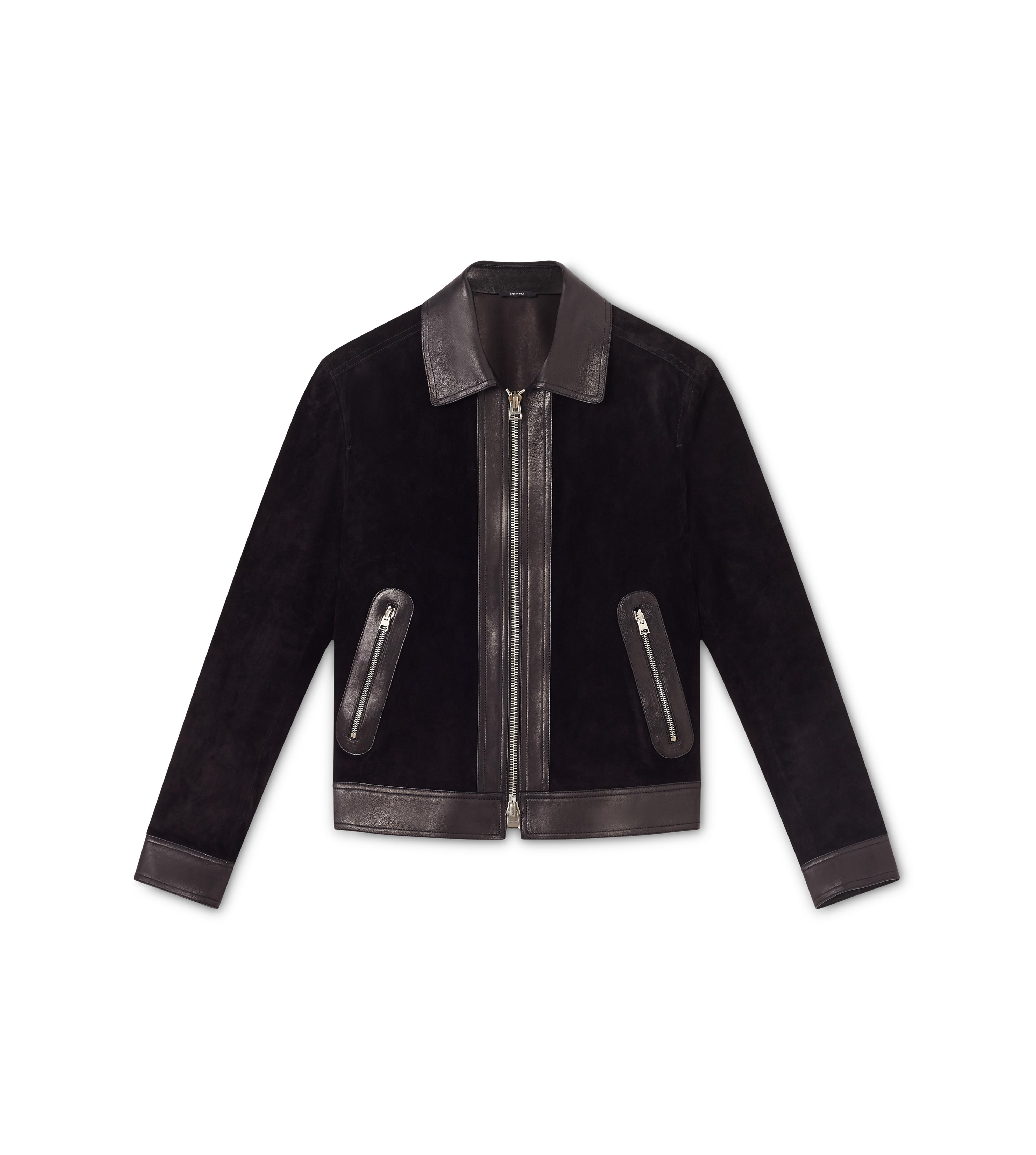 CASHMERE SUEDE AND LEATHER CONTRAST BLOUSON A thumbnail