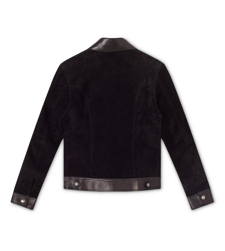 CASHMERE SUEDE AND LEATHER CONTRAST BLOUSON B fullsize