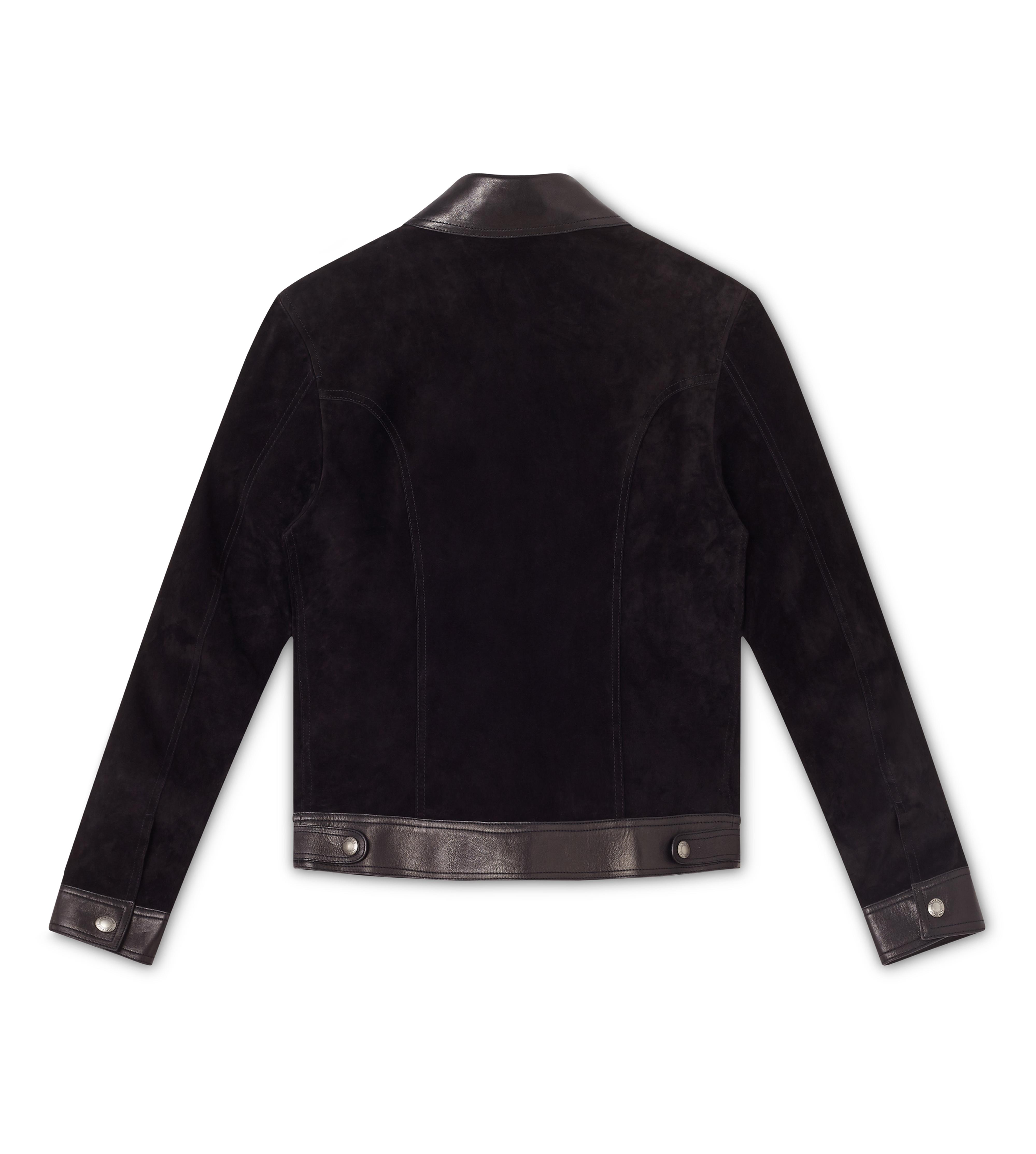 CASHMERE SUEDE AND LEATHER CONTRAST BLOUSON B thumbnail