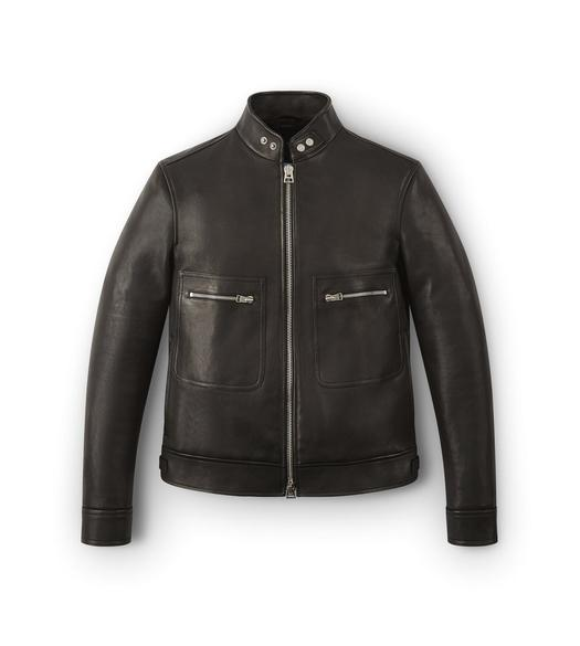 SNAP COLLAR LEATHER JACKET
