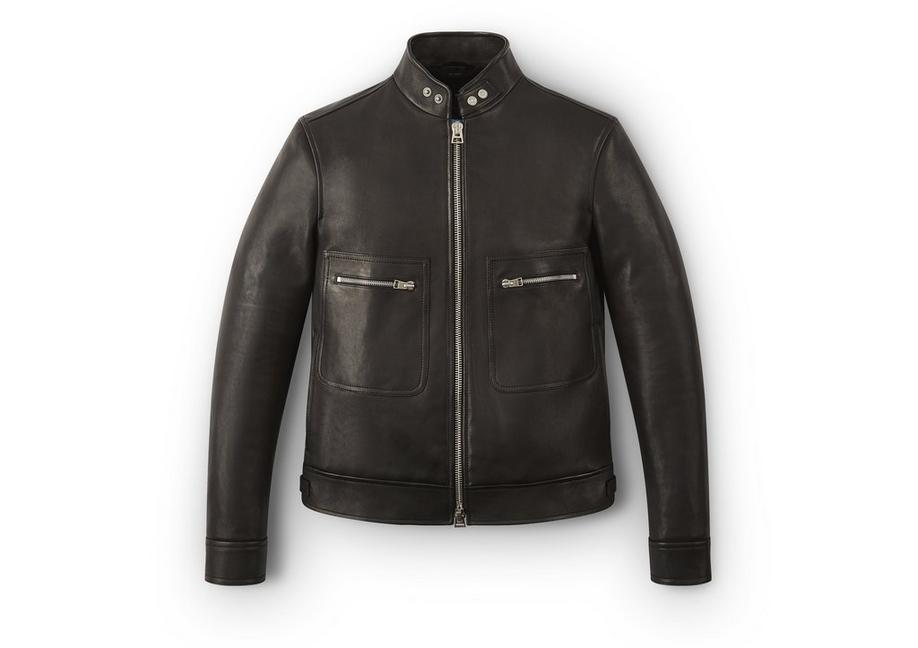 SNAP COLLAR LEATHER JACKET A fullsize
