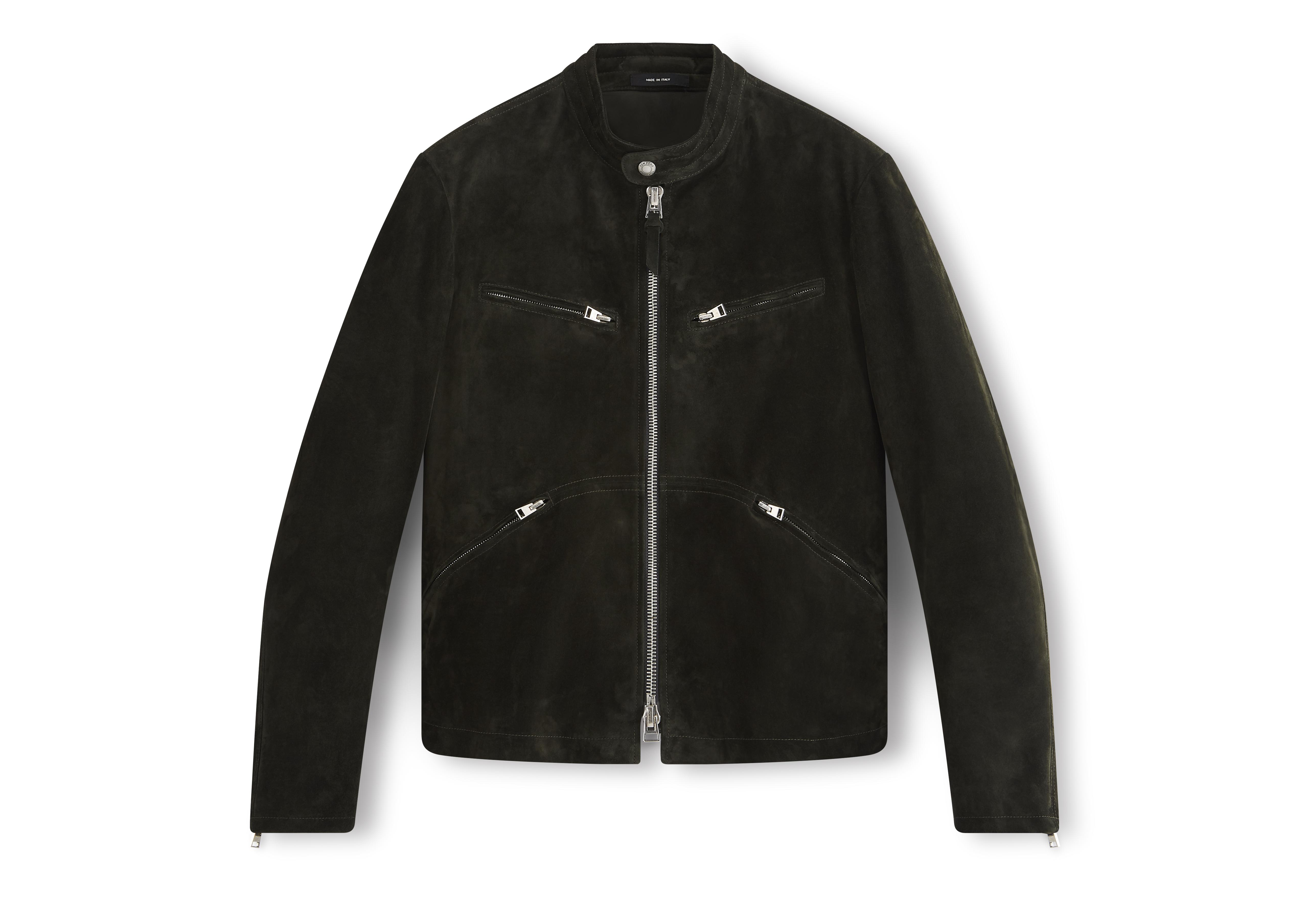 CASHMERE SUEDE CAFE RACER JACKET A thumbnail