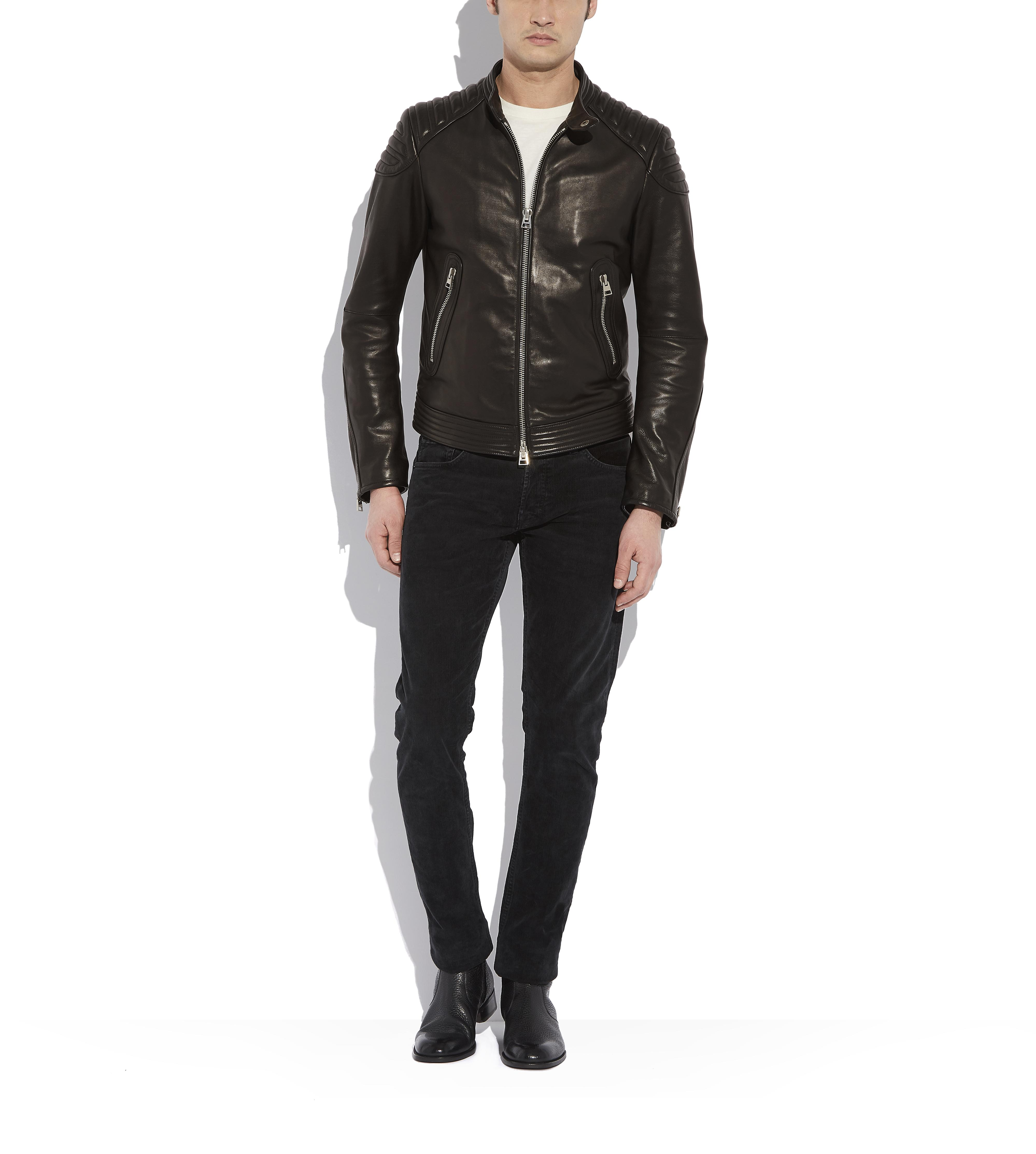QUILTED LEATHER BIKER JACKET B thumbnail
