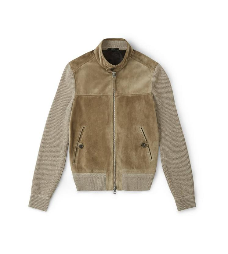 CASHMERE BLEND KNIT JACKET WITH SUEDE FRONT A fullsize