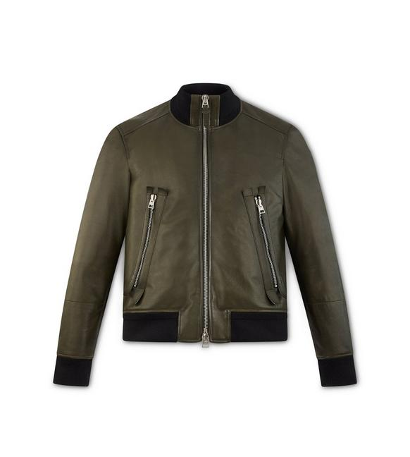 LEATHER ZIP BOMBER JACKET A fullsize