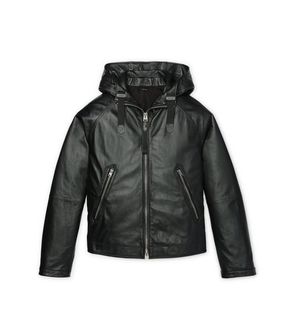 HOODED LEATHER PARKA A fullsize