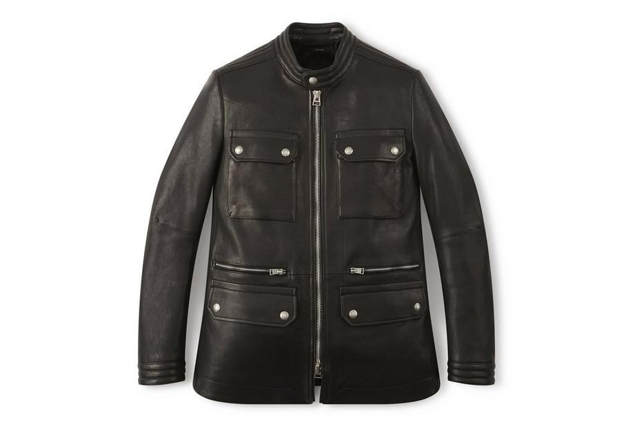 LEATHER ZIP MOTORCYCLE JACKET A fullsize