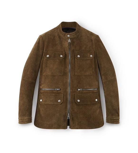 SUEDE ZIP MOTORCYCLE JACKET A fullsize