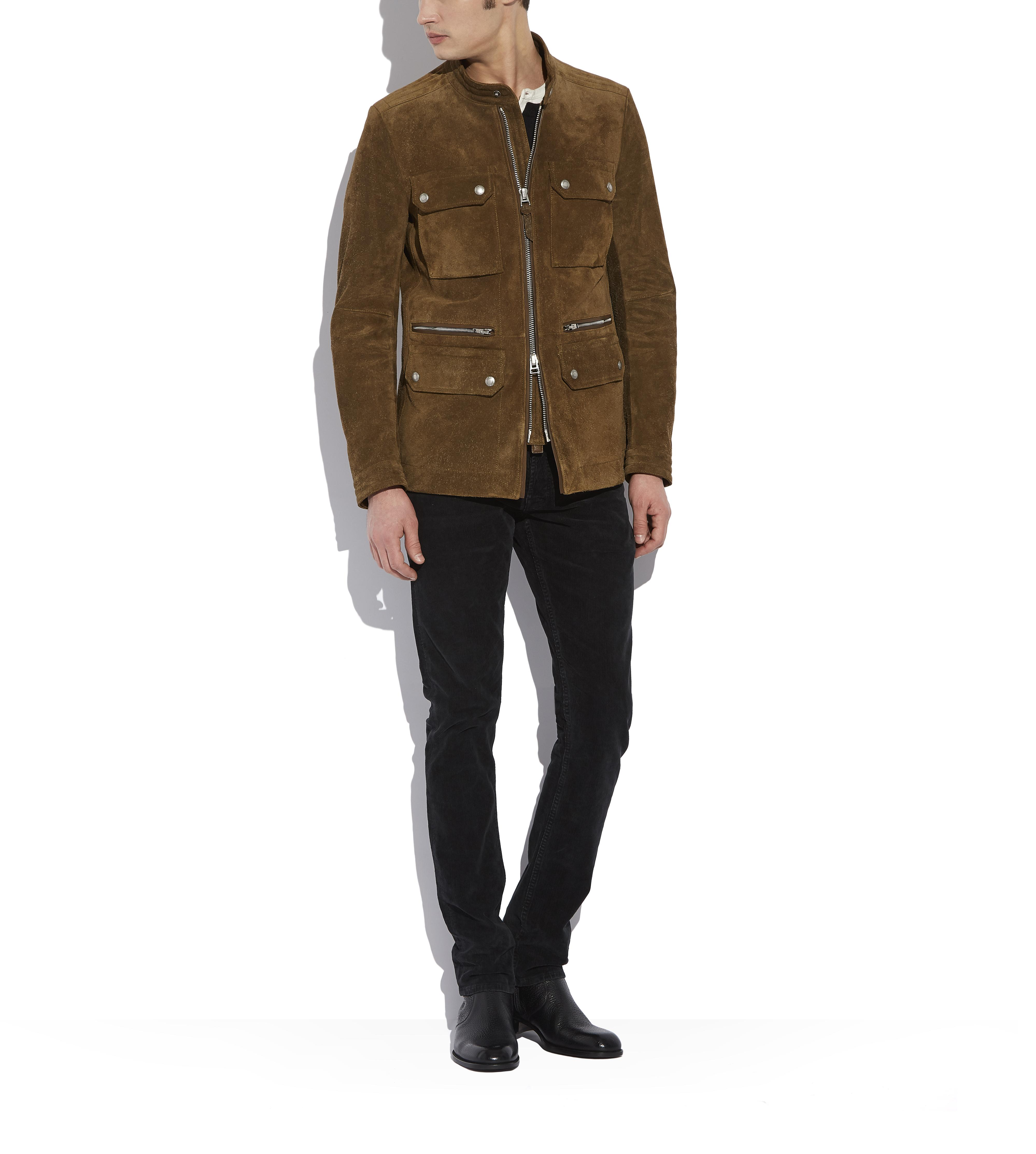 SUEDE ZIP MOTORCYCLE JACKET B thumbnail