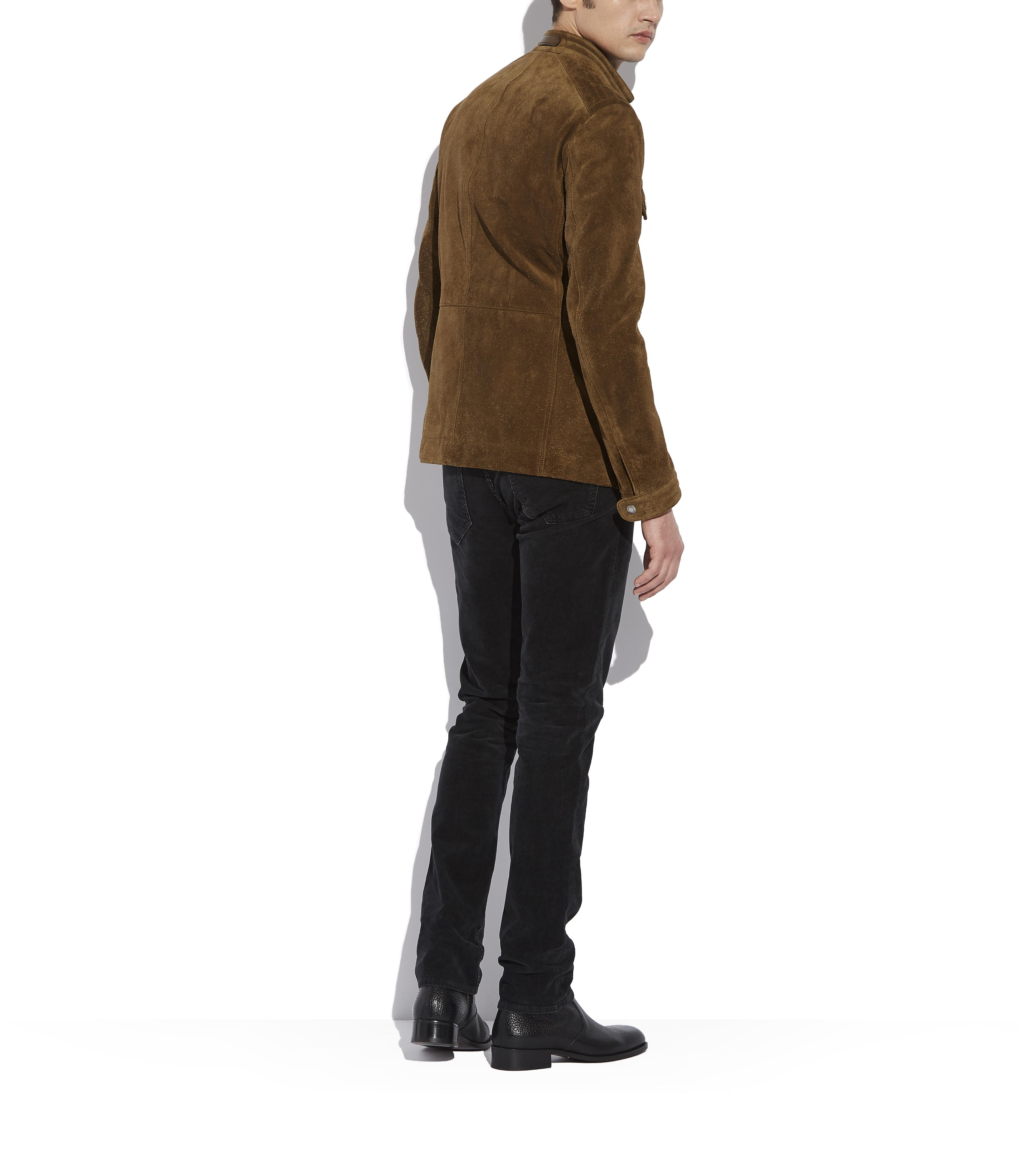 SUEDE ZIP MOTORCYCLE JACKET C thumbnail