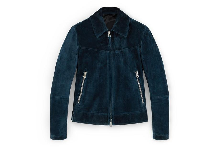 SUEDE JACKET WITH ZIP SLEEVE A fullsize