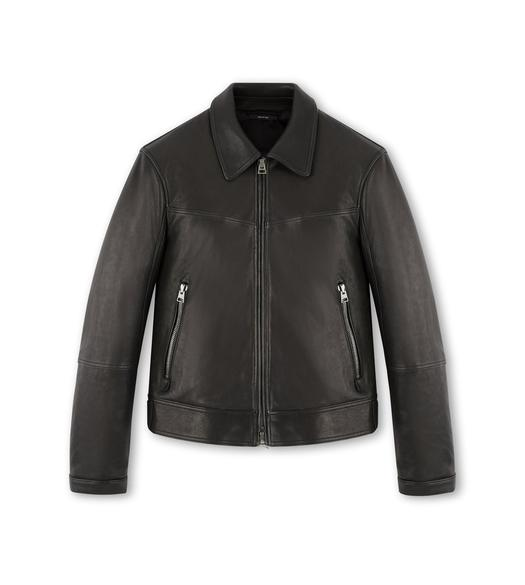 LEATHER JACKET WITH ZIP SLEEVE