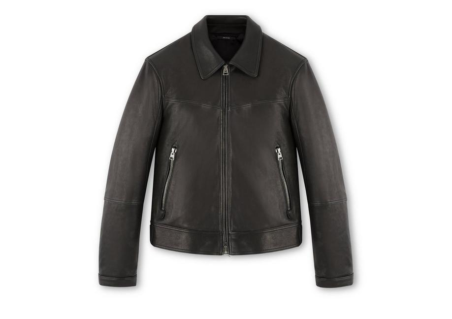 LEATHER JACKET WITH ZIP SLEEVE A fullsize