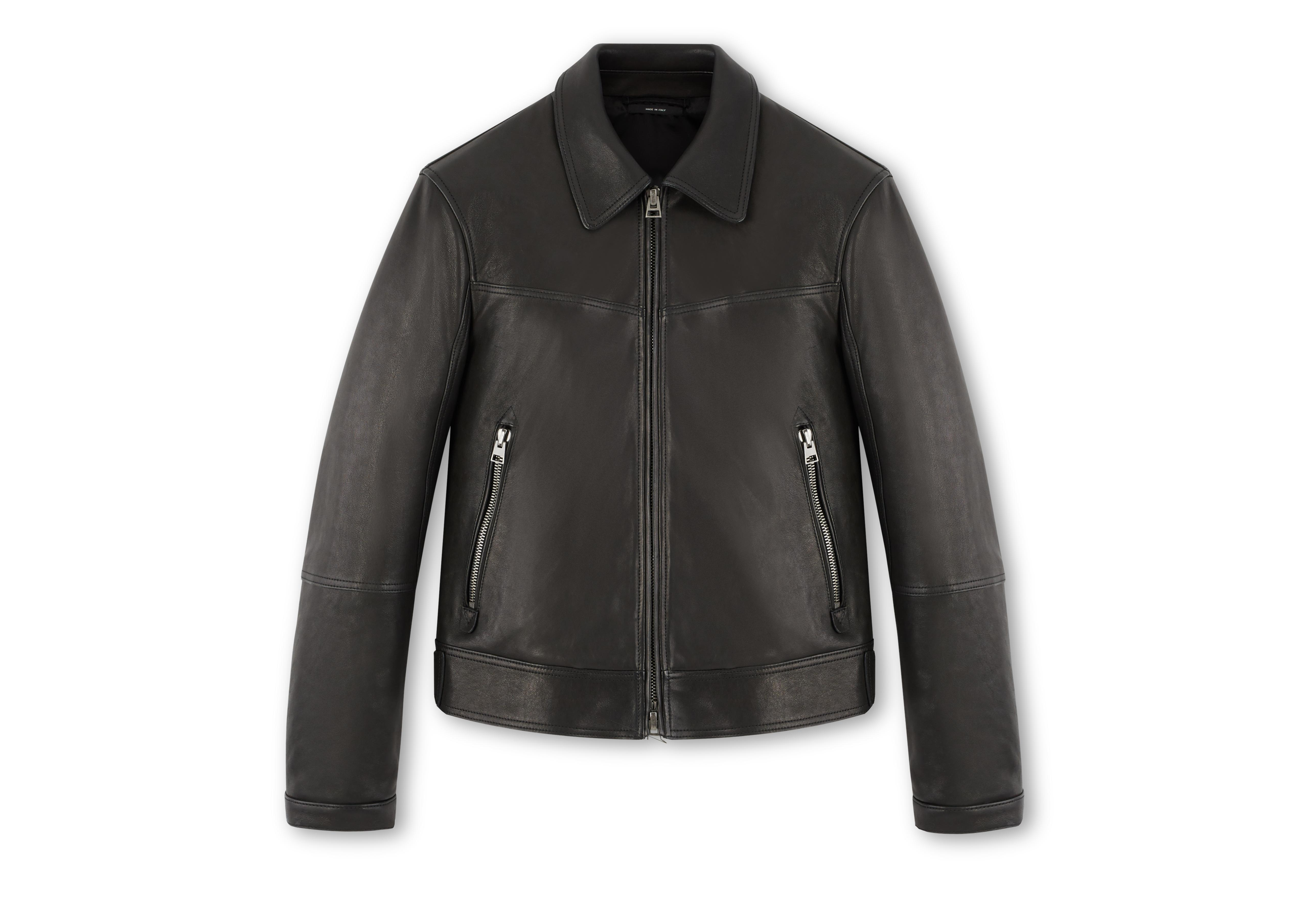 LEATHER JACKET WITH ZIP SLEEVE A thumbnail