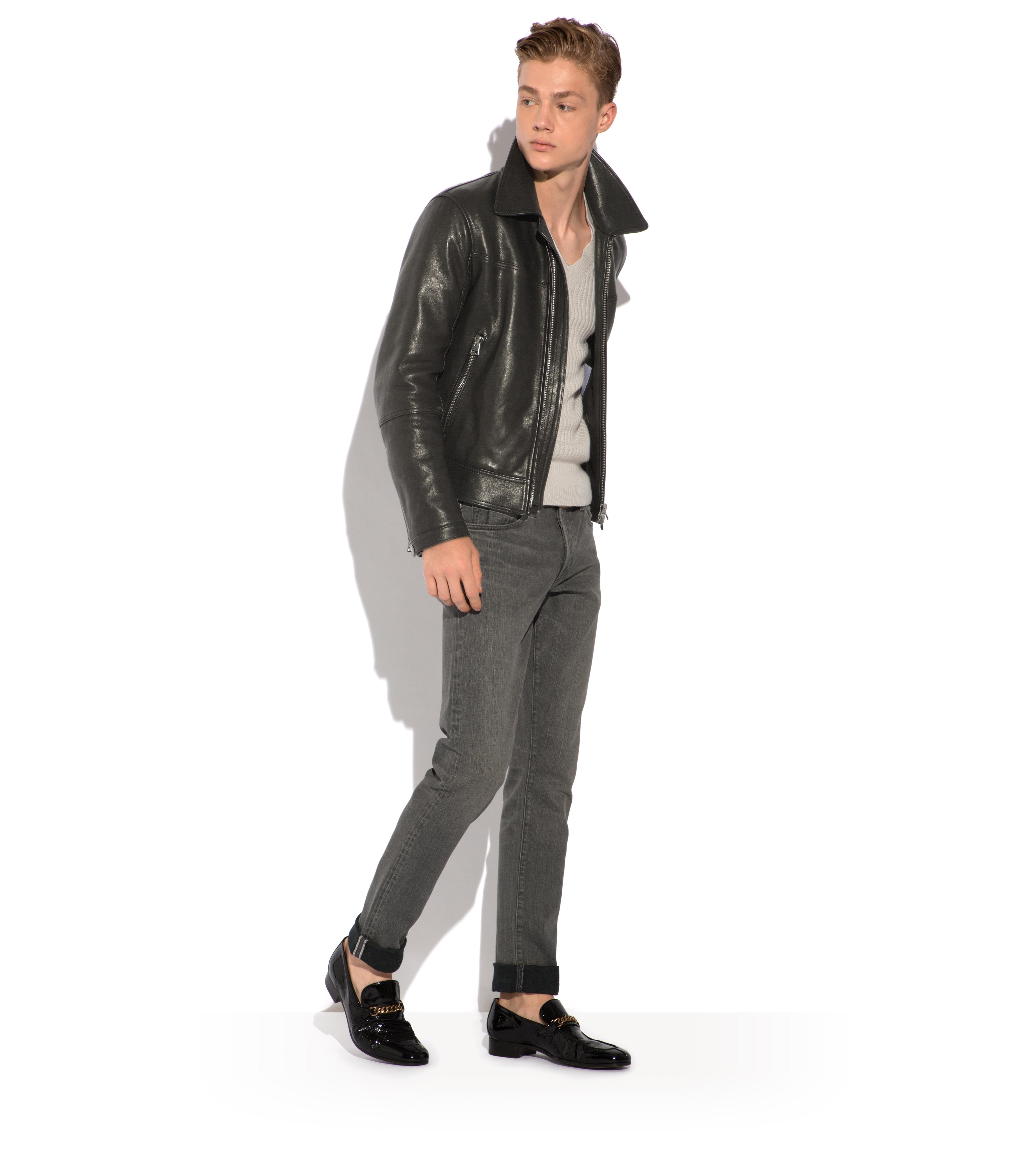 LEATHER JACKET WITH ZIP SLEEVE B thumbnail