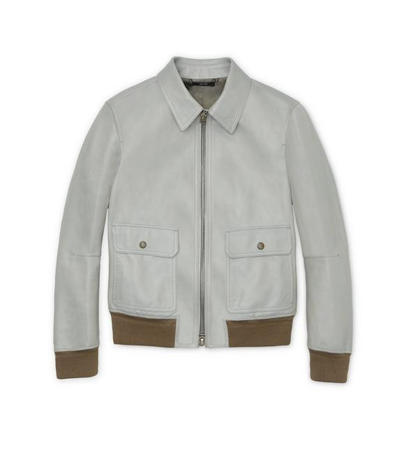 SOFT LEATHER JACKET WITH KNIT TRIMS A fullsize