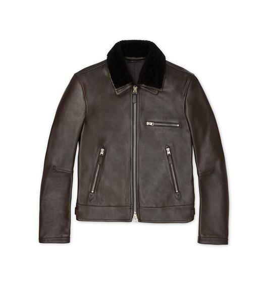 GRAIN LEATHER SHEARLING COLLAR JACKET