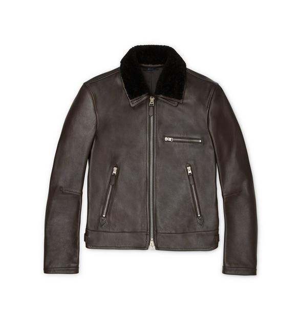 GRAIN LEATHER SHEARLING COLLAR JACKET A fullsize