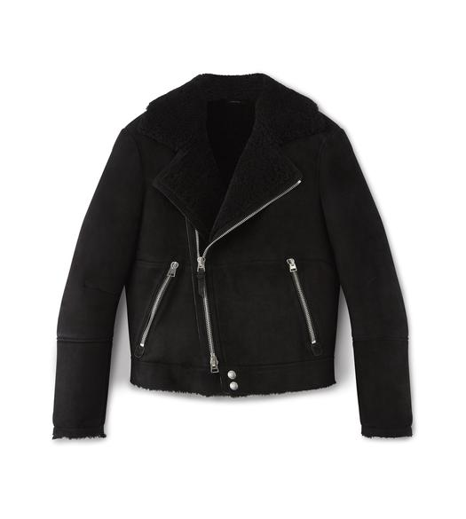 SHEARLING ASYMMETRIC AVIATOR JACKET