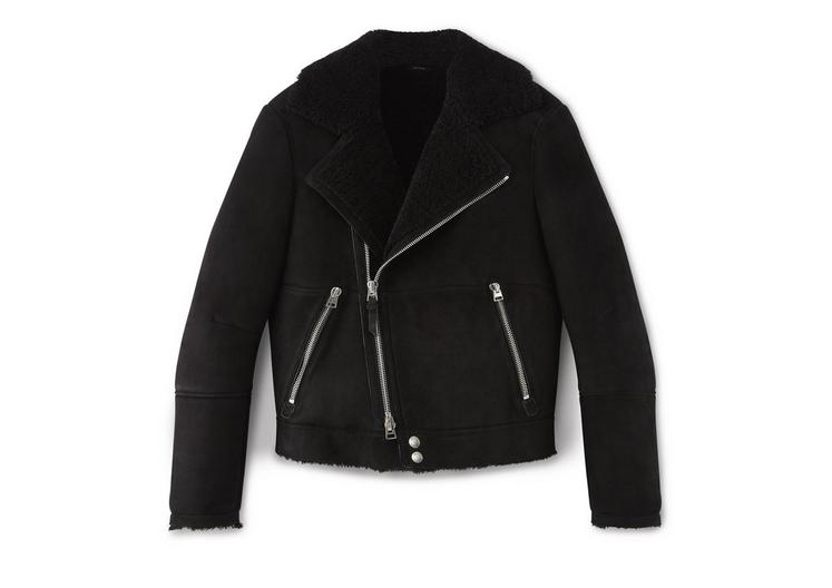 SHEARLING ASYMMETRIC AVIATOR JACKET A fullsize