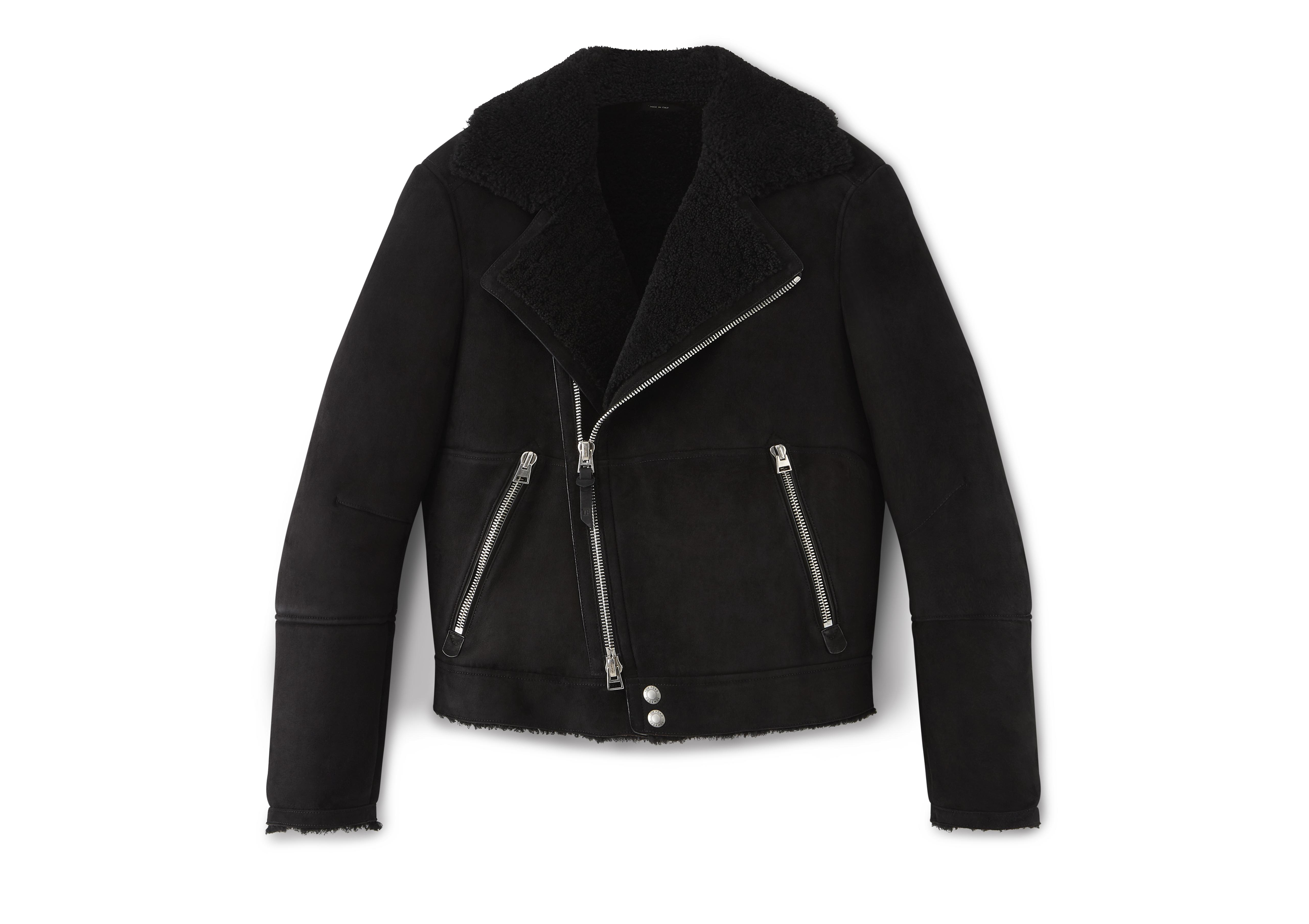 SHEARLING ASYMMETRIC AVIATOR JACKET A thumbnail