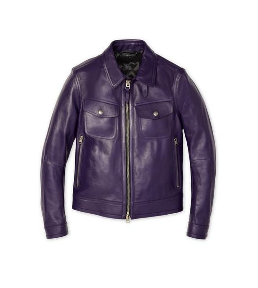 WORKED LEATHER COLLAR BLOUSON
