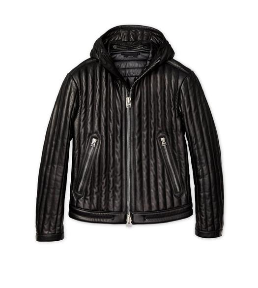 OVATTA PADDED HOODED LEATHER JACKET