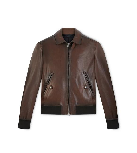 WORKED LEATHER JACKET A fullsize