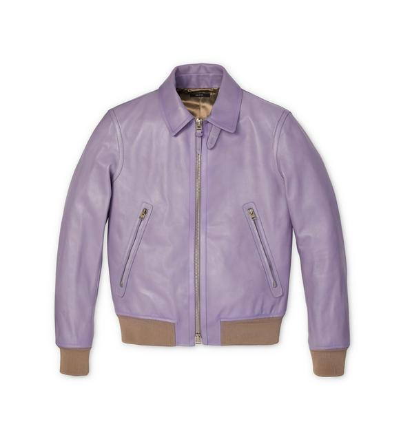 WORKED LEATHER COLLAR BLOUSON WITH KNIT TRIMS A fullsize