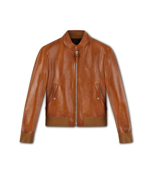 WORKED LEATHER HARRINGTON BLOUSON