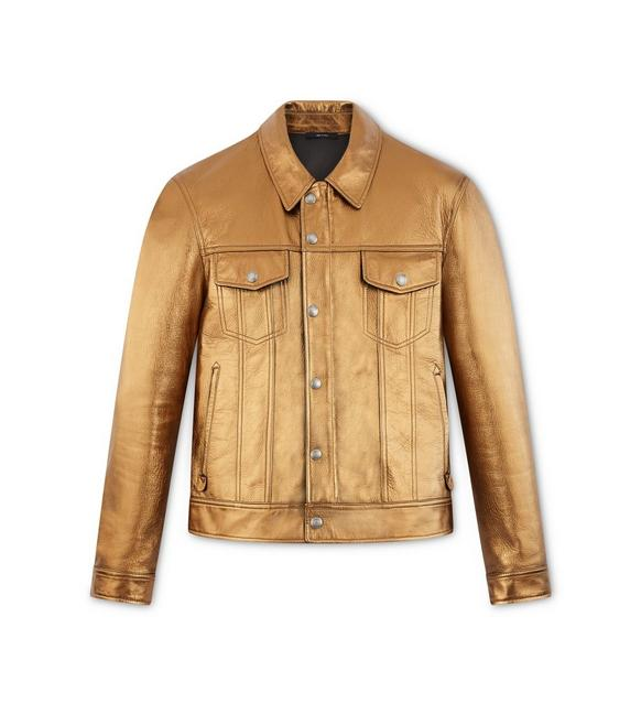 METALLIC LEATHER WESTERN JACKET A fullsize