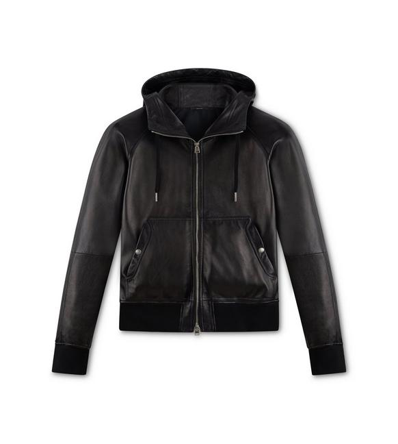 LEATHER HOODED JACKET A fullsize