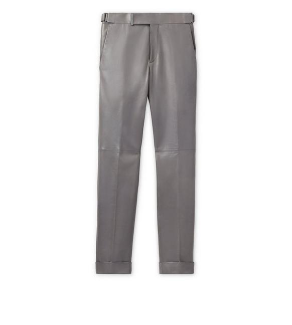 LEATHER TAILORED TROUSERS A fullsize