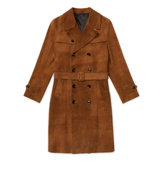 HAND-FINISHED SUEDE TRENCH COAT