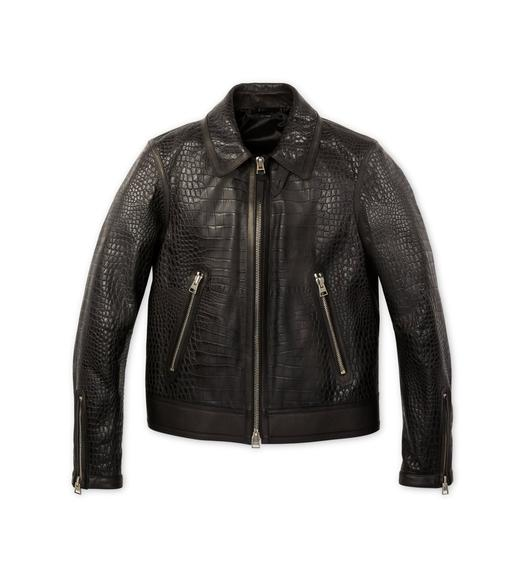 EMBOSSED CROCODILE TRACKED BLOUSON