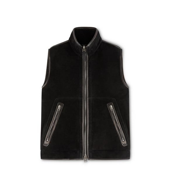 SUEDE SHEARLING LINED GILET A fullsize
