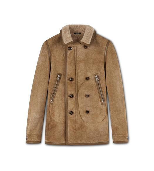SUEDE SHEARLING LINED DOUBLE BREASTED PEACOAT