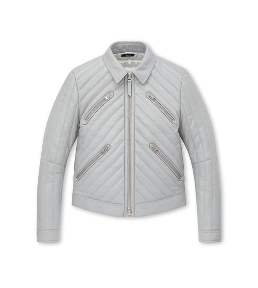 PLONGE LEATHER CHEVRON CHANNEL COLLAR BLOUSON
