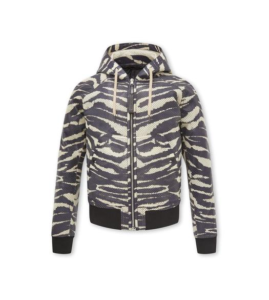 ZEBRA PRINT PERFORATED LEATHER HOODED BLOUSON