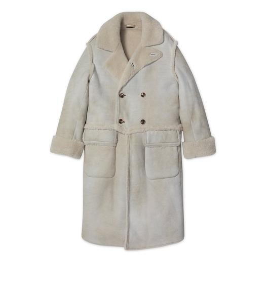 SUEDE RAW CUT SHEARLING DOUBLE BREASTED LONG COAT