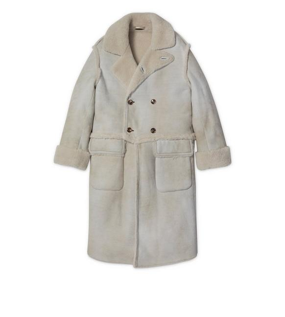 SUEDE RAW CUT SHEARLING DOUBLE BREASTED LONG COAT A fullsize