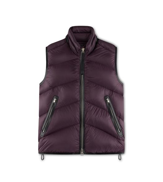 LIGHTWEIGHT NYLON OVATTA CHEVRON DOWN GILET