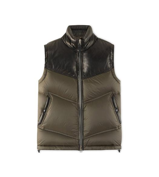 NYLON DOWN GILET WITH LEATHER DETAIL