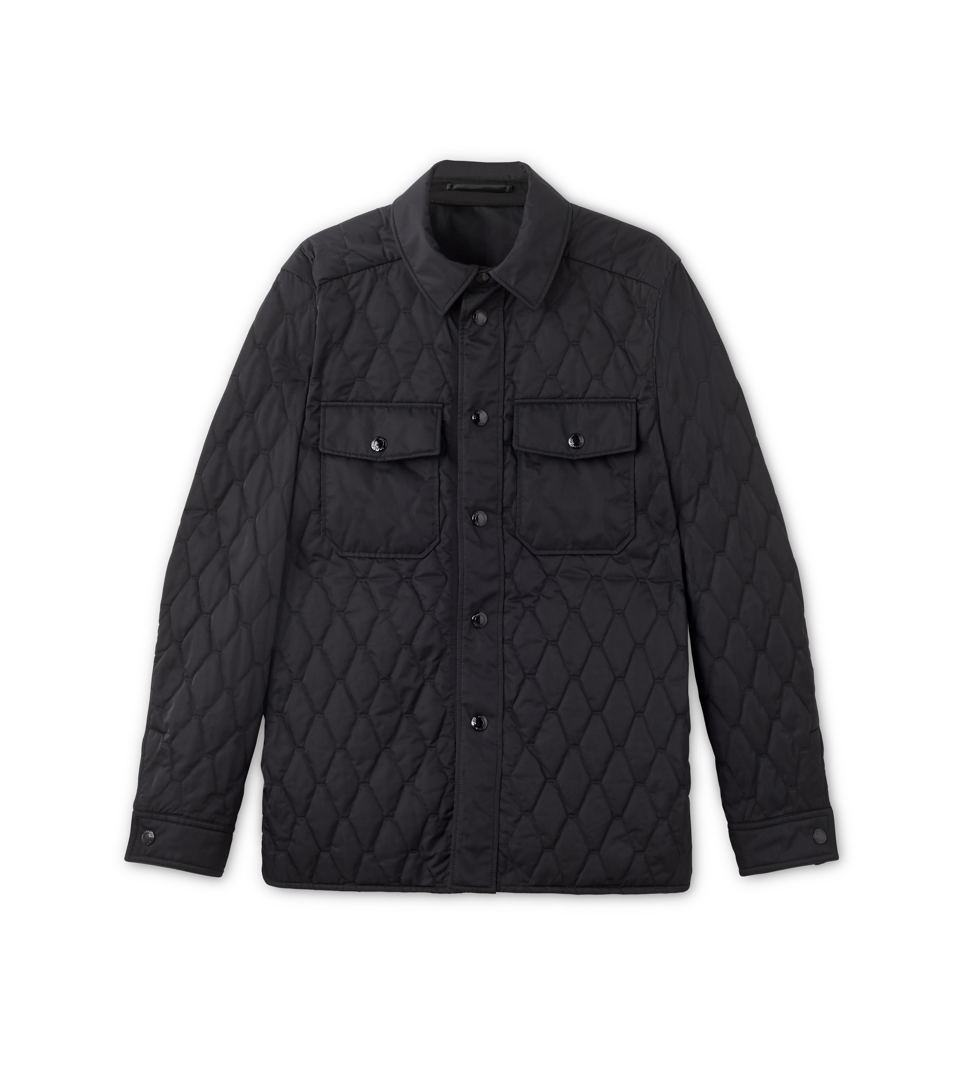 NYLON TWILL DIAMOND QUILTED OUTER SHIRT A thumbnail
