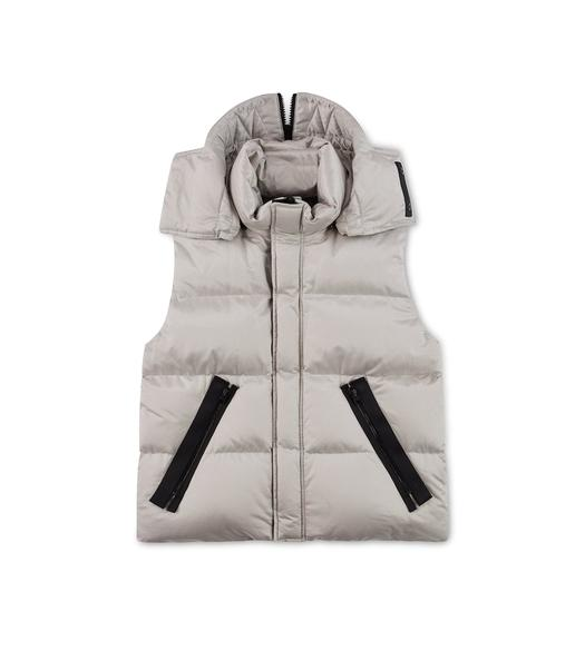 METALLIC HOODED DOWN VEST